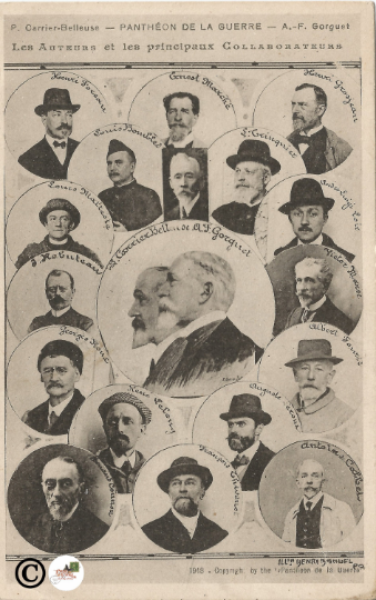 1918 Vintage Postcard Portraits of the Authors and Collators of Pantheons of War