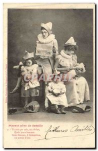 Old Postcard Perrot father of famillePierrots