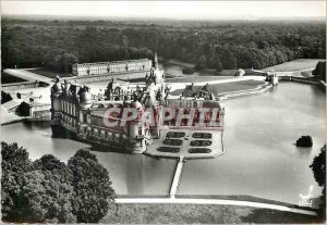 Postcard Modern airplane above 7 Chantilly (Oise) le chateau
