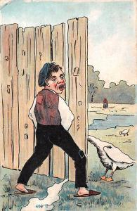 Comic Humour Man peeing goose fantasy illustration