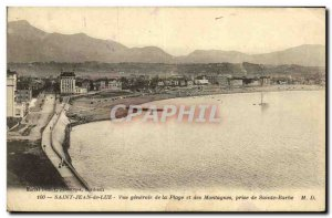 Old Postcard Saint Jean De Luz Generale View of the Mountains Beach And The T...