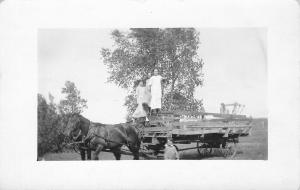 Farm Ladies Pose on Top of Hay Mound Rack Rails~Horse Team~Boy~1912 RPPC