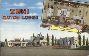 Albuquerque NM Route 66 Zuni Motor Lodge Linen Postcard