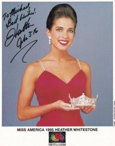 RP; Autograph Photograph Of HEATHER WHITESTONE, Miss America 1995