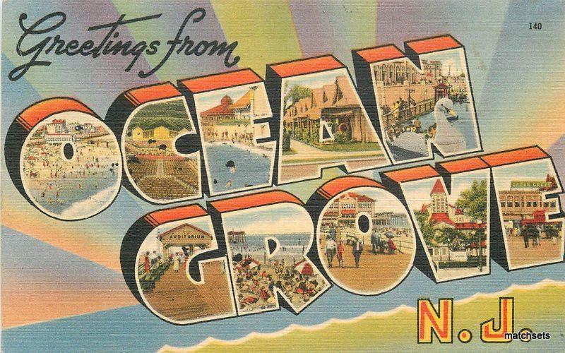 1940s OCEAN GROVE NEW JERSEY Large Letters multi View postcard 5500