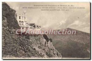Old Postcard Excursion around Menton M hotel restaurant winter Righi Noon mod...
