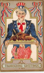 Uncle Sam Thanksgiving Greetings USA 1909 Missing Stamp