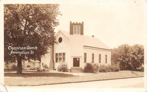 Assumption Illinois~Christian Church~House Next Door~1940s Real Photo Postcard