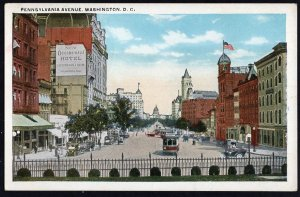 DC WASHINGTON Pennsylvania Avenue with Occidental Hotel Street View Old Cars WB