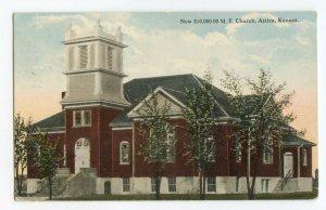 Postcard New $10,000.00 M. E. Church Attica Kansas Standard View Card