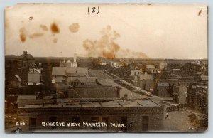 Marietta Minnesota~Birdseye View~Main Street to Churches~Hotel~1913 RPPC