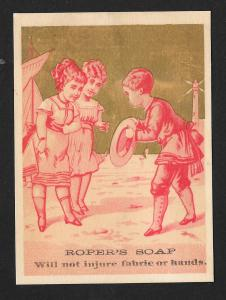 VICTORIAN TRADE CARD Ropers Soap Red Tint Man Greeting Two Ladies at Shore