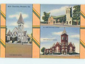 Linen THREE VIEWS ON ONE POSTCARD - CHURCH SCENE Marietta Georgia GA hs7370