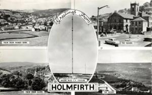 Vintage Real Photo Multi View Postcard, Greetings from Holmfirth, Yorkshire 40V