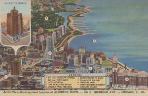 Allerton Chicago Hotel Michigan Avenue Map Aerial MInt  Postcard