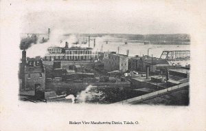 Birdseye View of Manufacturing District, Toledo, Ohio, Early Postcard, Unused