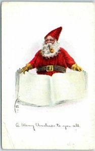 Vintage SANTA CLAUS Christmas Postcard Red Suit Smoking Pipe w/ Big Book 1915