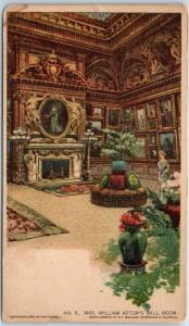 c1900s New York City Postcard Mrs. William Astor's Ball Room Sunday American
