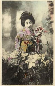 japan, Beautiful GEISHA Lady in Kimono, Orchideae Flowers (1910s)
