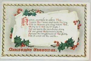 Postcard:Christmas Greetings Hasten mortals to adore him.  Xmas Carols Series.