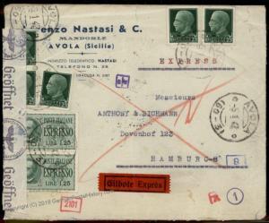 3rd Reich Italy 1942 Hamburg  Express Rohrpost Pneumatic Mail Posta Pneuma 66605
