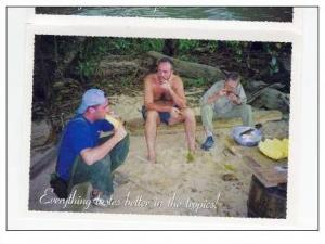 SURVIVOR Season 1 PC: 3 Contestants Eating Pineapple, Everything tastes bett...