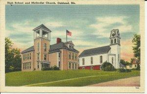 Oakland,Me., High School And Methodist Church