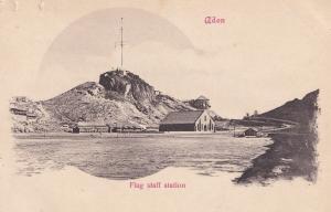 Aden Yemen Flag Staff Station Old Postcard