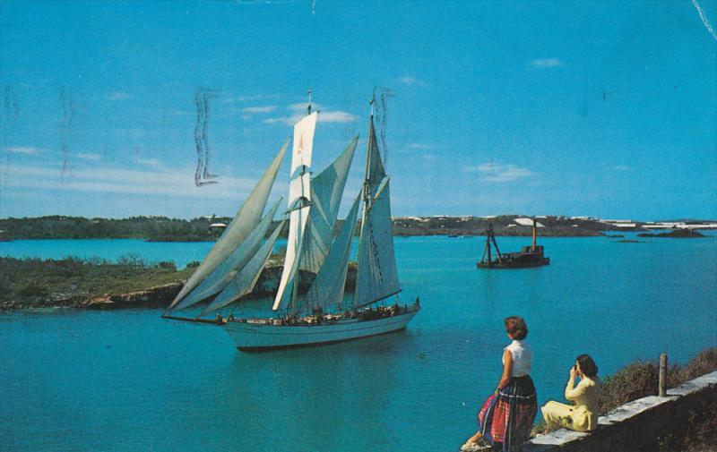 BERMUDA, PU-1967; The 96-Foot Brigantine Yankee Sails, Leaving St. George's H...