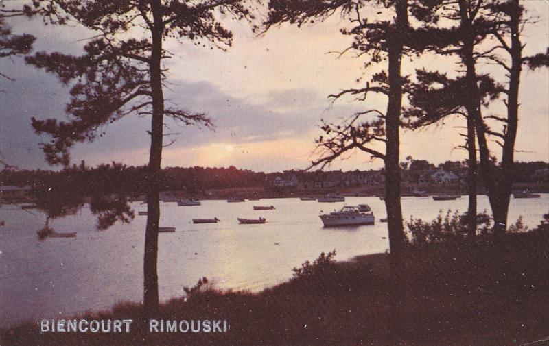 Sunset View, Boats at Biencourt, Rimouski, Quebec, Canada, PU-1984