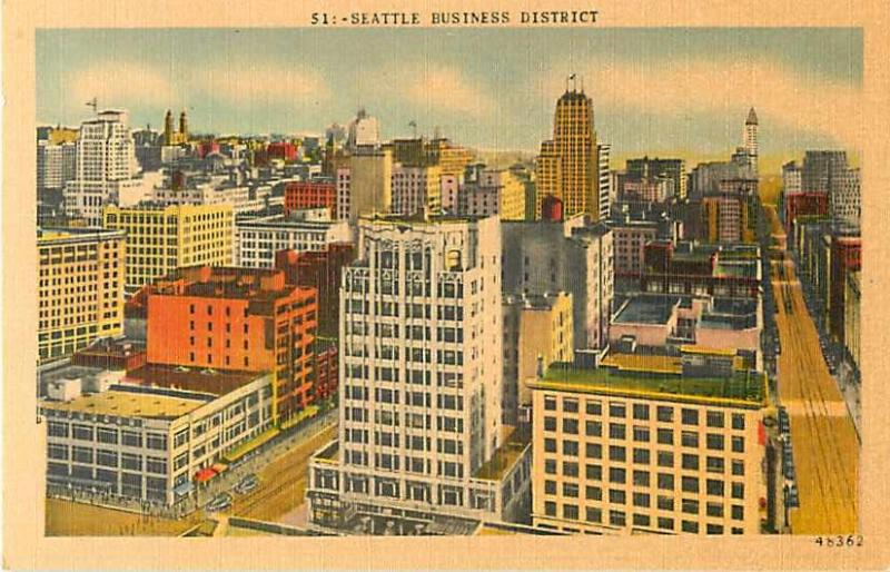 Linen View of Seattle Business District Washington WA