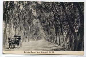 Lovers Lane Horse Buggy Trees Roswell New Mexico 1911 postcard