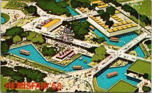 Hemisfair 68 World's Fair 1968 San Antonio Texas TX Aerial Unused Postcard F2