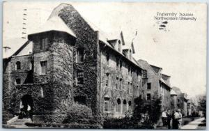 Evanston, IL Postcard NORTHWESTERN UNIVERSITY Fraternity Houses 1935 Cancel