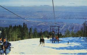 Grouse Mountain Vancouver BC Ski Lift Skiing Burrard Inlet North Van Postcard D7