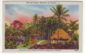 P722 vintage grass huts the interior of panama flowers palm trees