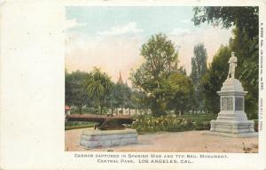 Los Angeles~Central Park~Cannon~Spanish American War Soldier Monument~1906 PC