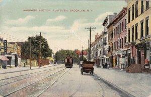 New York Brooklyn Flatbush Trolley On Main Street Business Section 1909 sk229