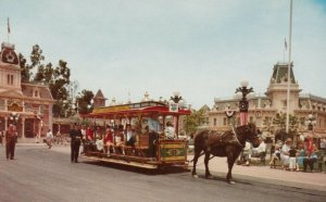 DISNEYLAND, 1960s; Main Street Trolley, Horse-drawn, Anaheim, California