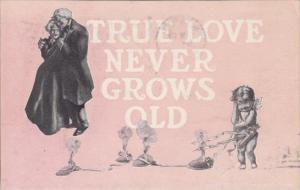 Valentine's Day Old Couple With Cupid True Love Never Grows Old 1907