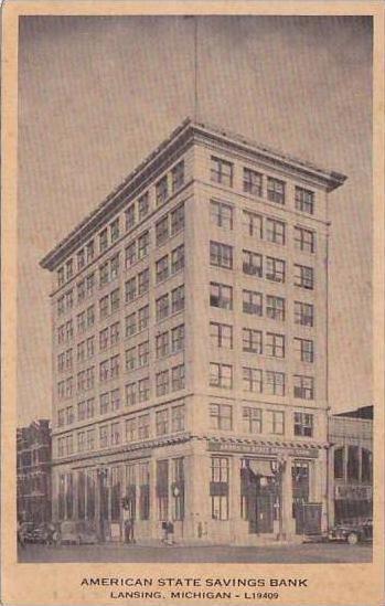 Michigan Lansing American State Savings Bank 1941 Hippostcard