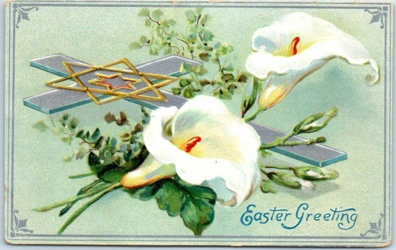 1910s easter postcard silver cross star of david white lily flowers 1910s easter postcard silver cross star of david white lily flowers tucks 2666 mightylinksfo