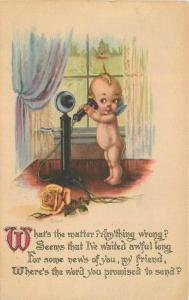Candlestick Kewpie Telephone 1915 Gartner Bender interior postcard 10322