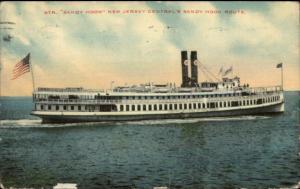 Steamer Ship Sandy Hook New Jersey Central's Sandy Hook Route Postcard