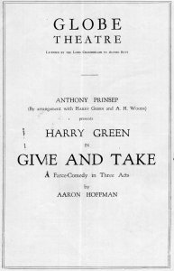 Give & Take Harry Green Frank Petley Globe Theatre Old Comedy Programme