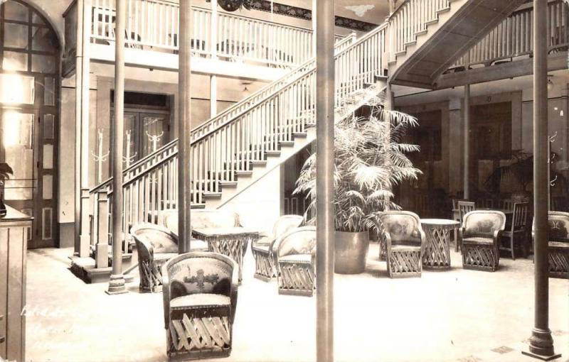 Michocan Mexico Hotel Lobby Interior Real Photo Antique Postcard K11873