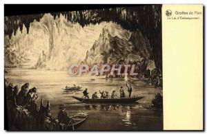 Old Postcard Han Caves Lake d & # 39Embarquement