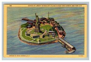 Aerial View of Bedloe's Island Statue of Liberty, NYC c1940 Linen Postcard