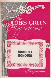 Birthday Honours Paul Jones Drama Golders Green Theatre Programme