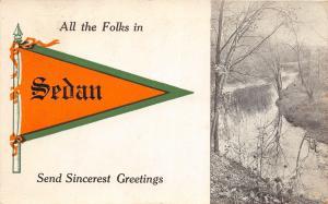 F22/ Sedan Ohio Postcard 1912 Pennant Greetings from